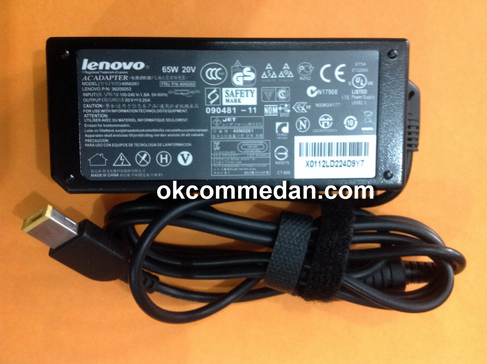 charger adaptor asli notebook lenovo 65 watt 20v