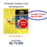 Flashdisk Toshiba 16 gb Asli Bergaransi