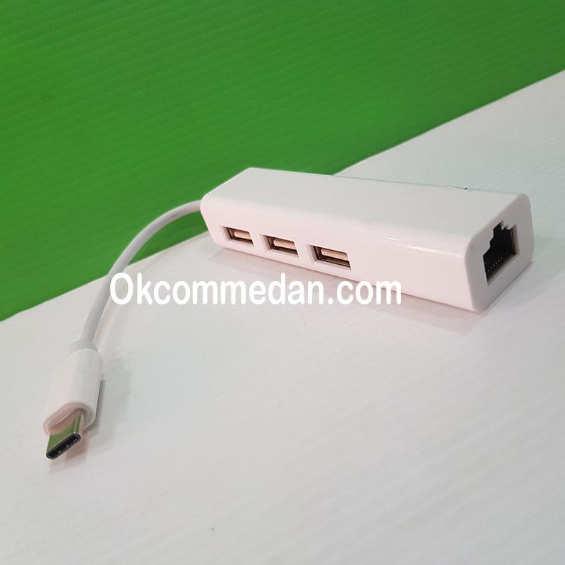 Jual USB 3.1 Tipe-C Kabel ke Lan dan 3 Port USB Hub