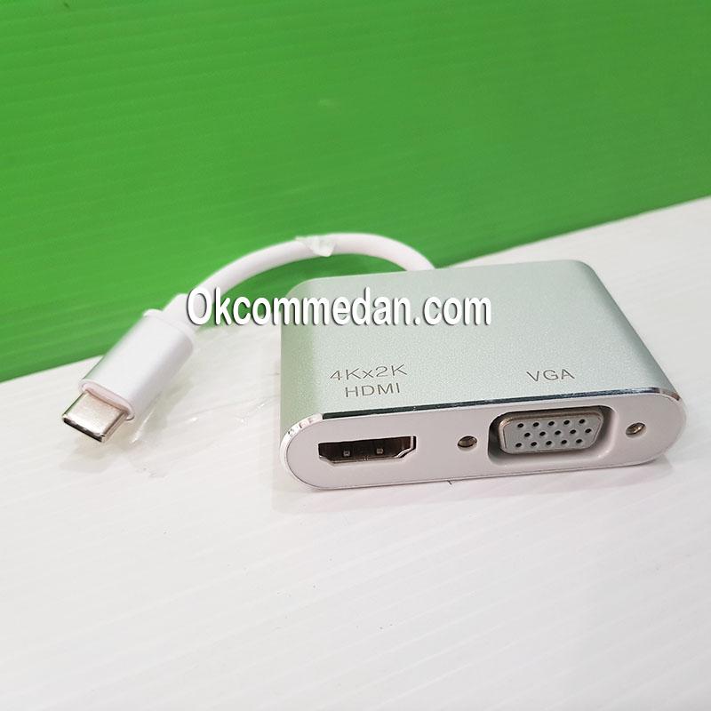 Jual Kabel Konverter USB-C ke VGA dan HDMI 4k