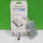 Kabel Konverter USB Tipe-C ke VGA HDMI DVI dan USB 3.0