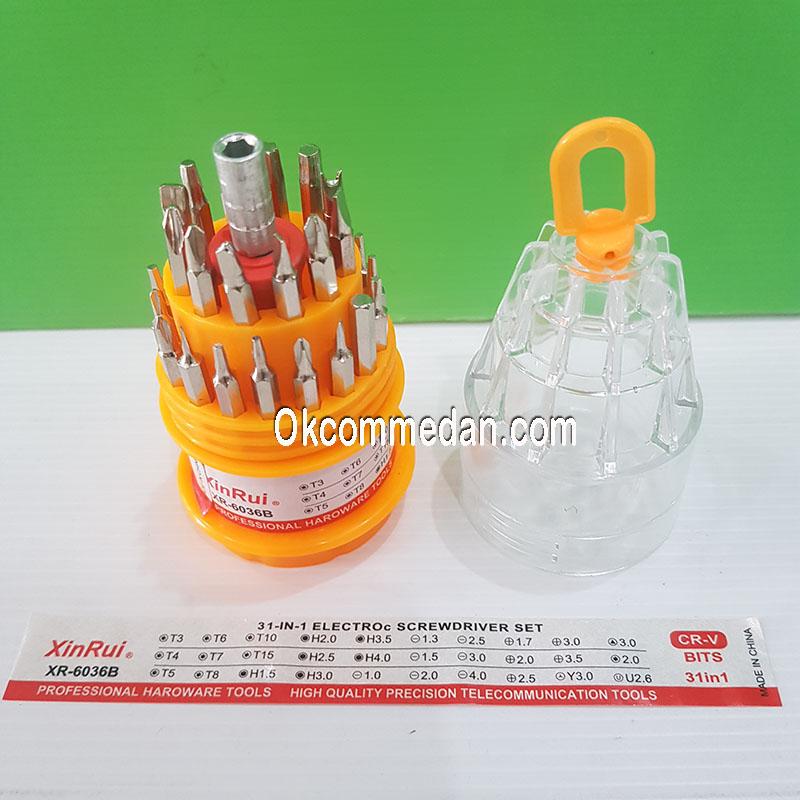 Obeng Set 31 in 1 Merek Xinrui XR-6036B Model Bulat