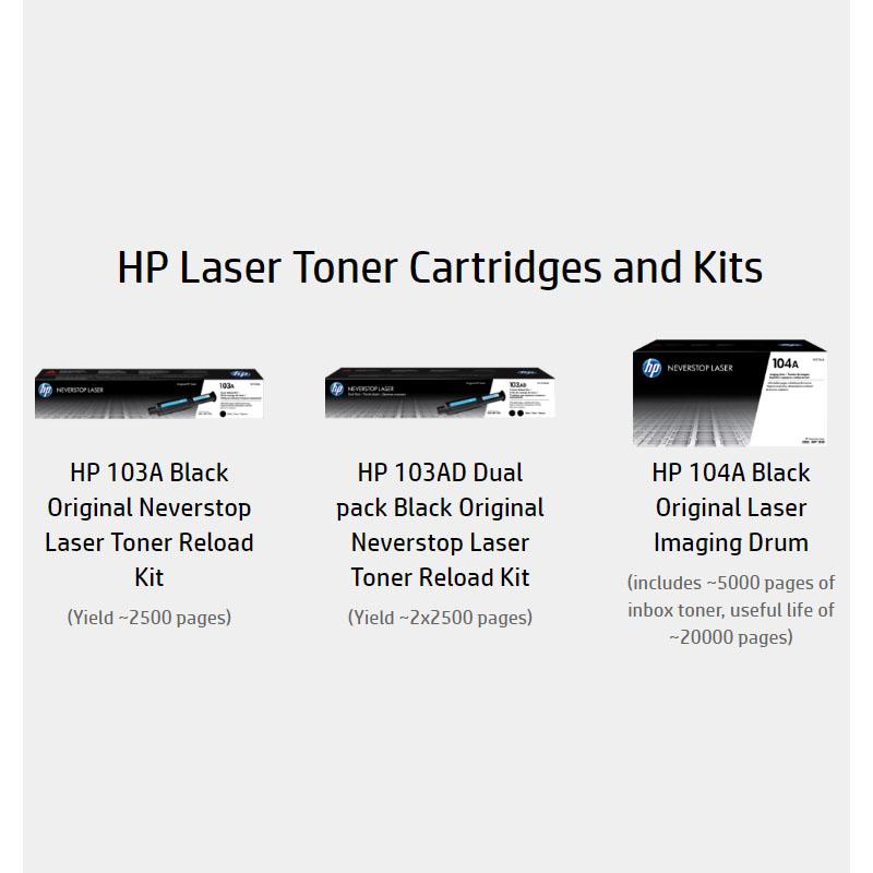 Reload toner dan imaging drum untuk hp neverstop 1000w